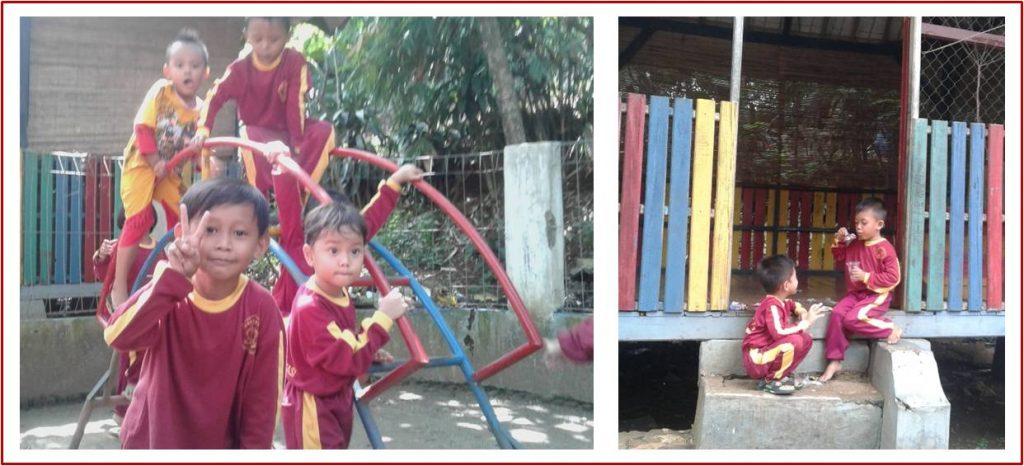 anak sekolak alam bermain sambil menunggu peresmian gedung baru, foto by @duniabiza