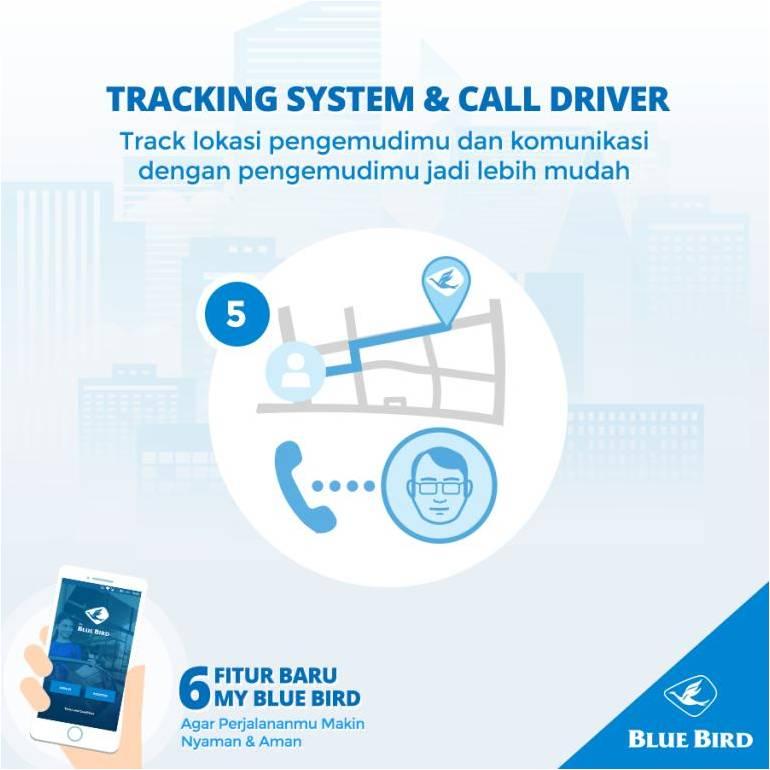 Fitur Tracking system aplikasi MyBlueBird