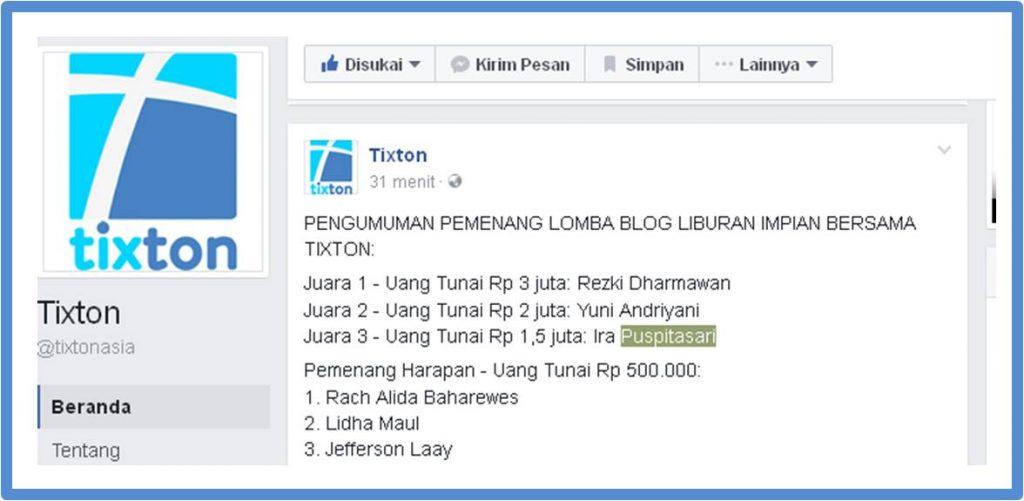Pengumuman Pemenang Lomba Blog Liburan Impian melalui facebook page Tixton