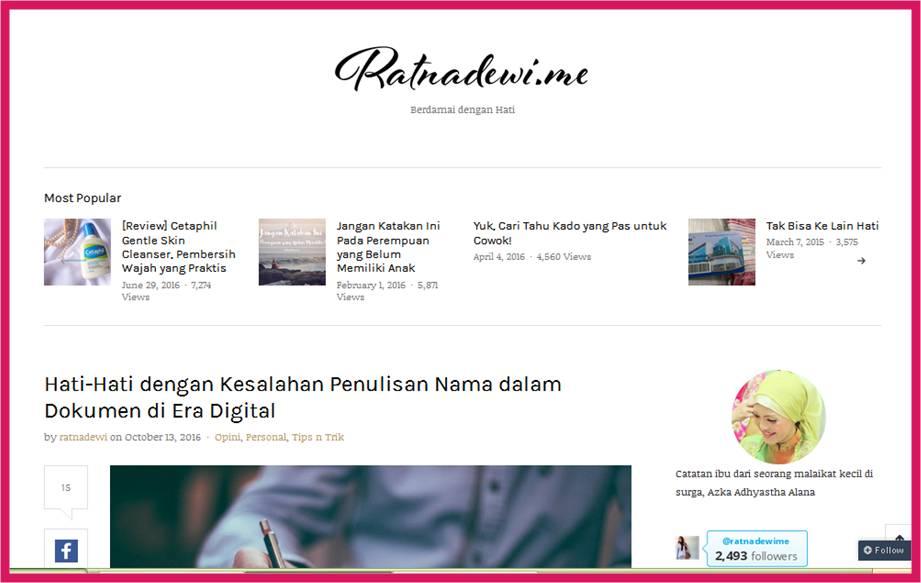 tampilan blog Mba Dewi yang simple