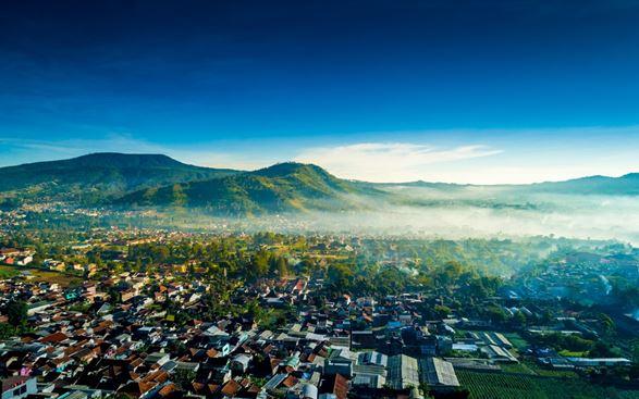 view kota bandung dari udara
