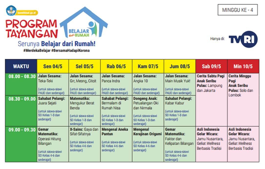 Jadwal Belajar di Rumah TVRI