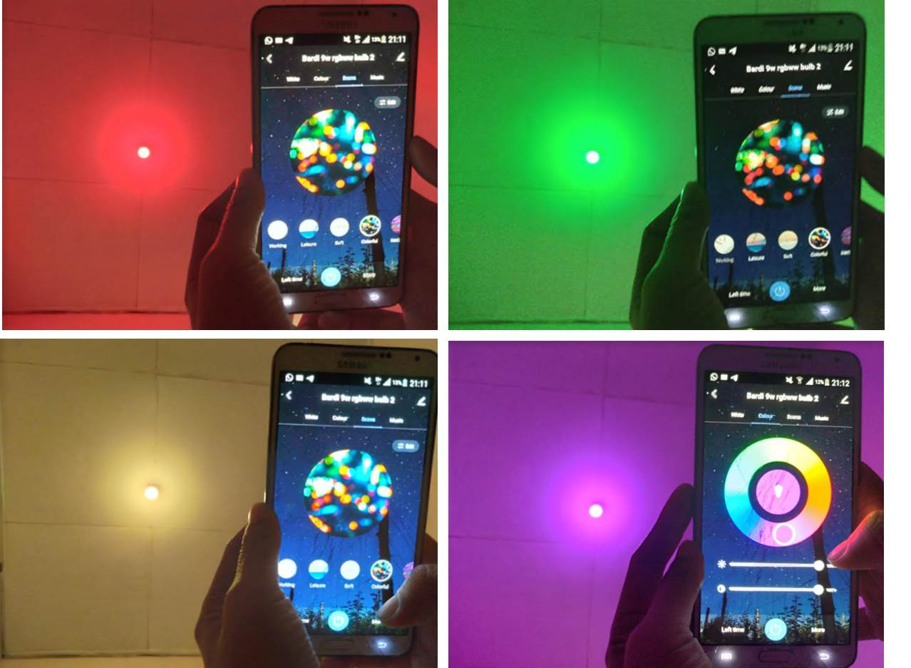Beberapa setting warna Bardi Smart Light Bulb